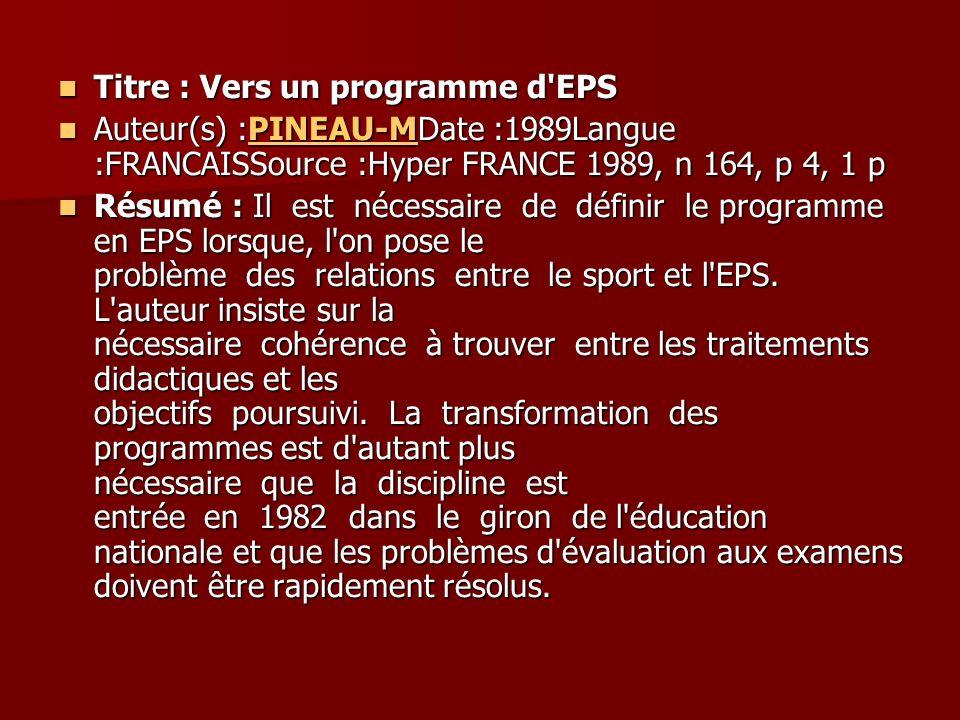 Titre : Vers un programme d EPS