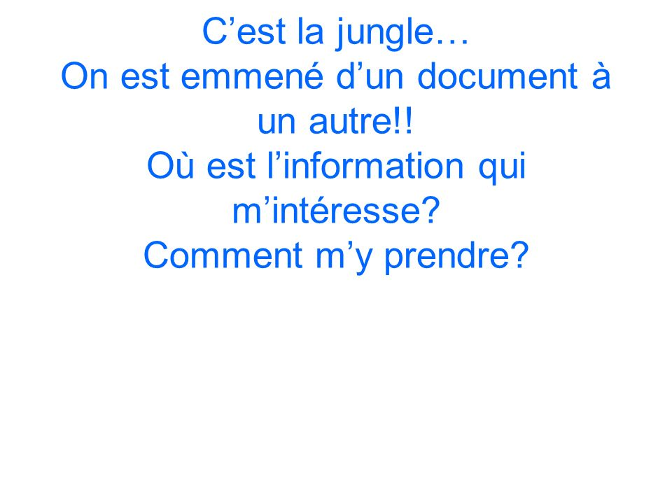C'est la jungle… On est emmené d'un document à un autre