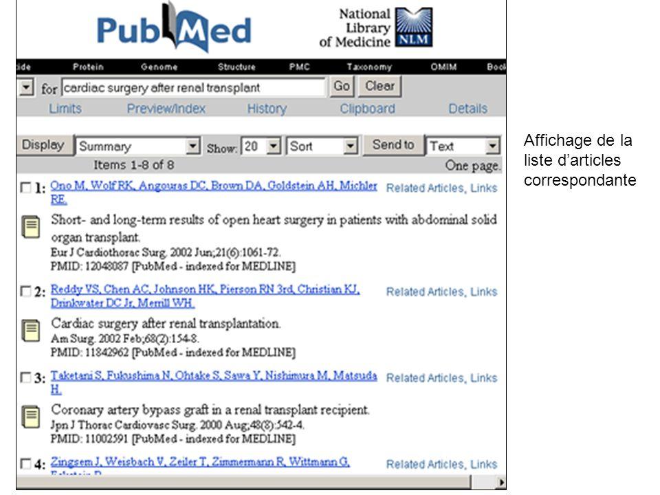 Affichage de la liste d'articles correspondante