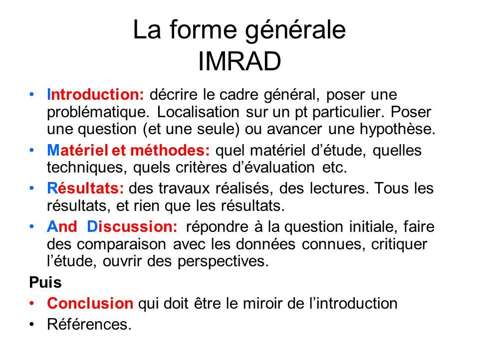 La forme générale IMRAD