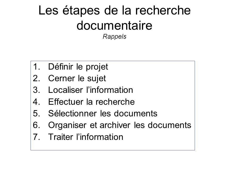 Les étapes de la recherche documentaire Rappels