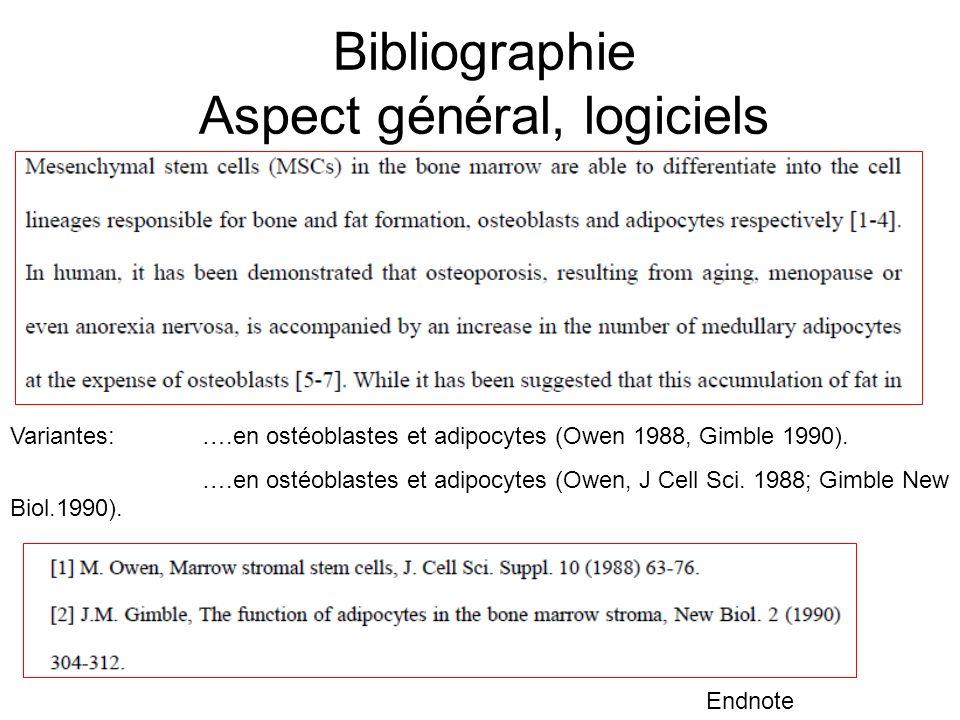 Bibliographie Aspect général, logiciels