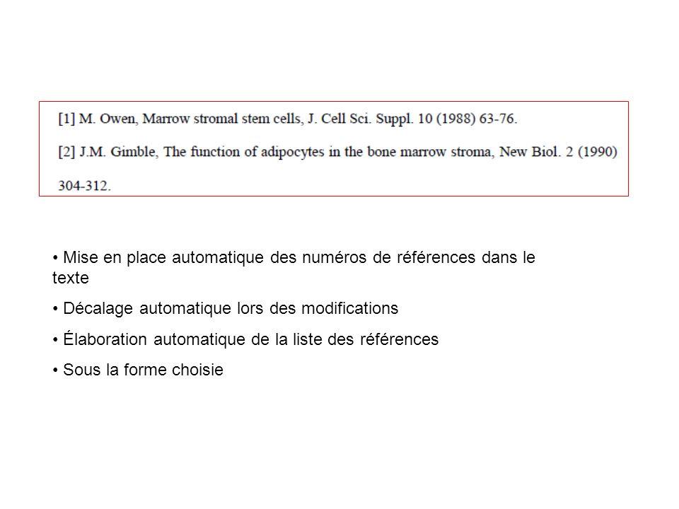 Mise en place automatique des numéros de références dans le texte