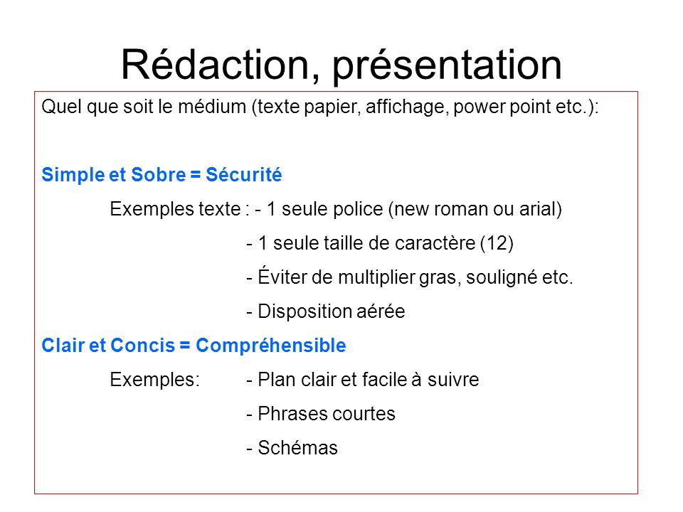 Rédaction, présentation