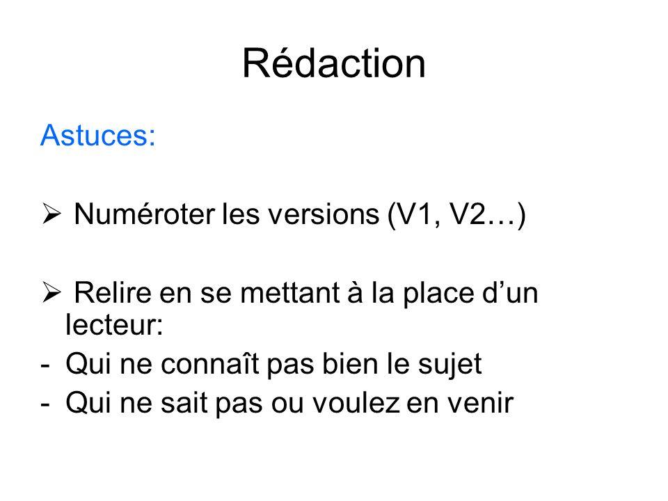 Rédaction Astuces: Numéroter les versions (V1, V2…)
