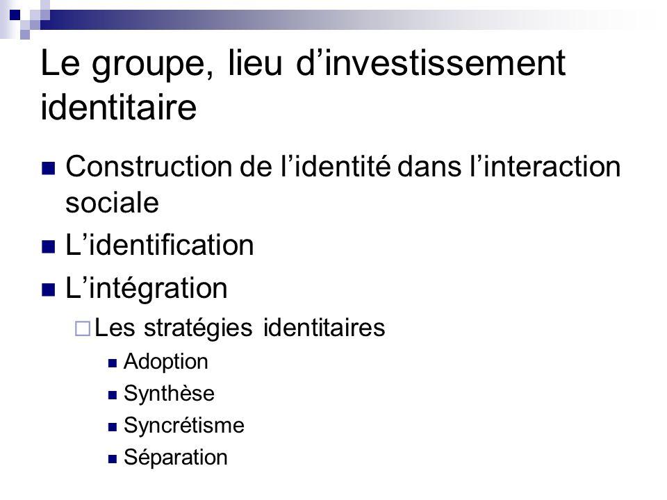 Le groupe, lieu d'investissement identitaire