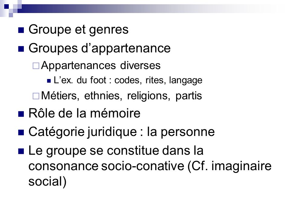 Groupes d'appartenance