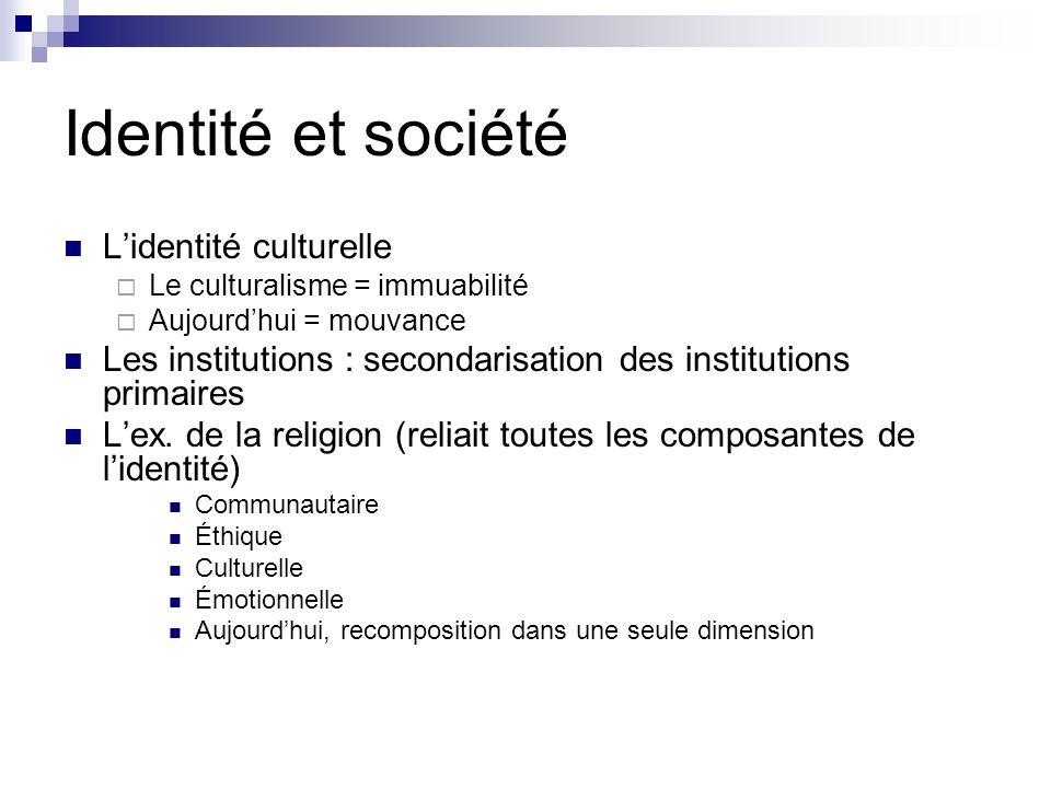Identité et société L'identité culturelle