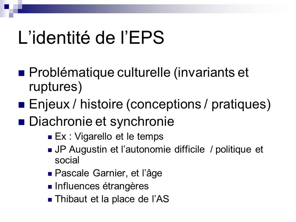 L'identité de l'EPS Problématique culturelle (invariants et ruptures)