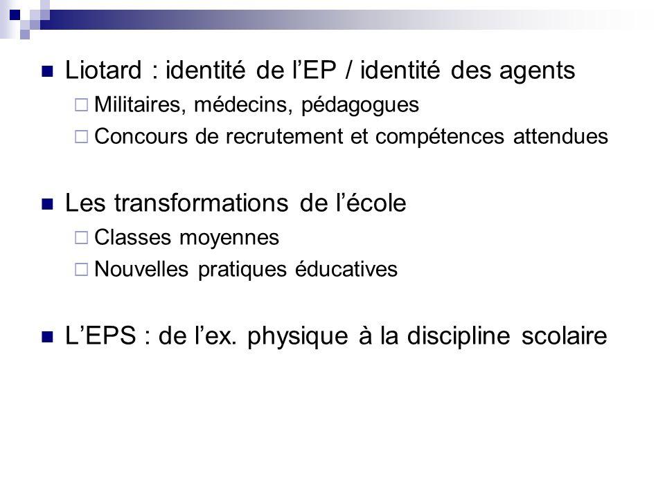 Liotard : identité de l'EP / identité des agents