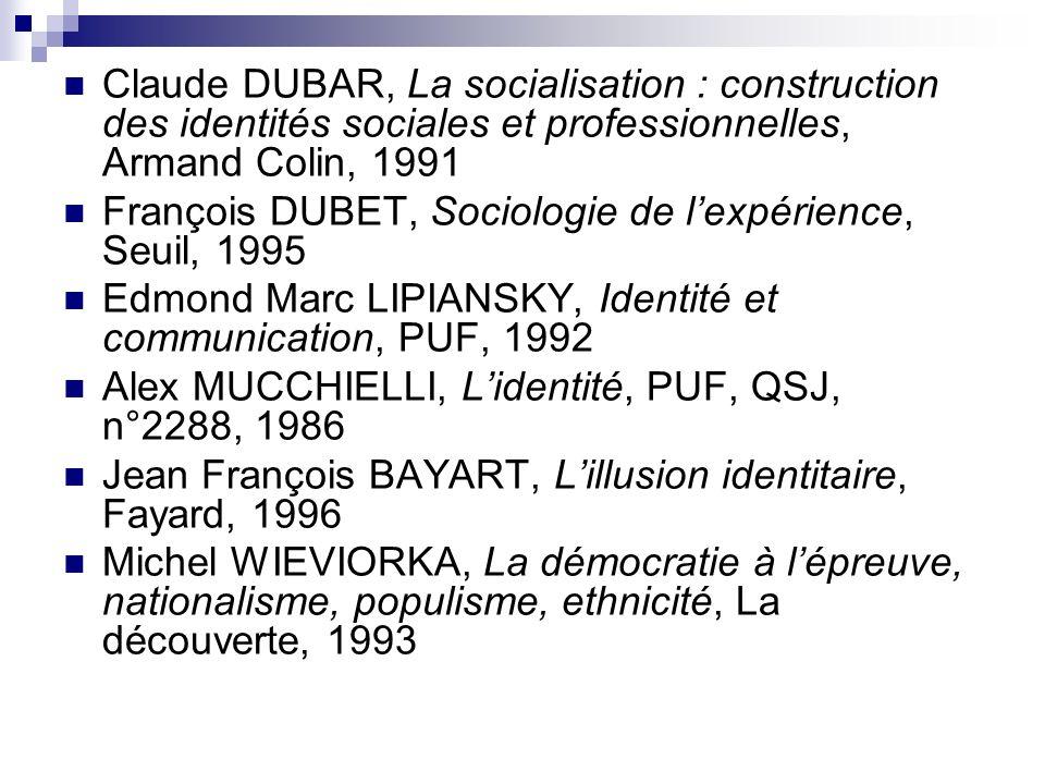 Claude DUBAR, La socialisation : construction des identités sociales et professionnelles, Armand Colin, 1991