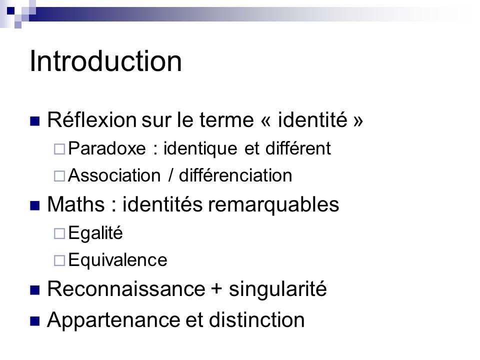 Introduction Réflexion sur le terme « identité »
