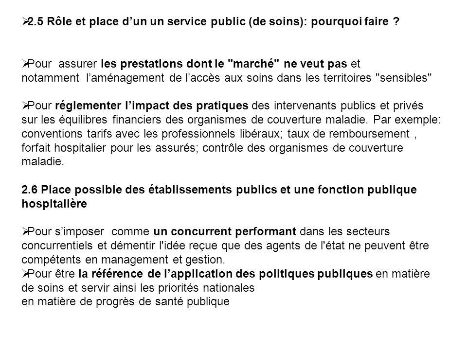 2.5 Rôle et place d'un un service public (de soins): pourquoi faire
