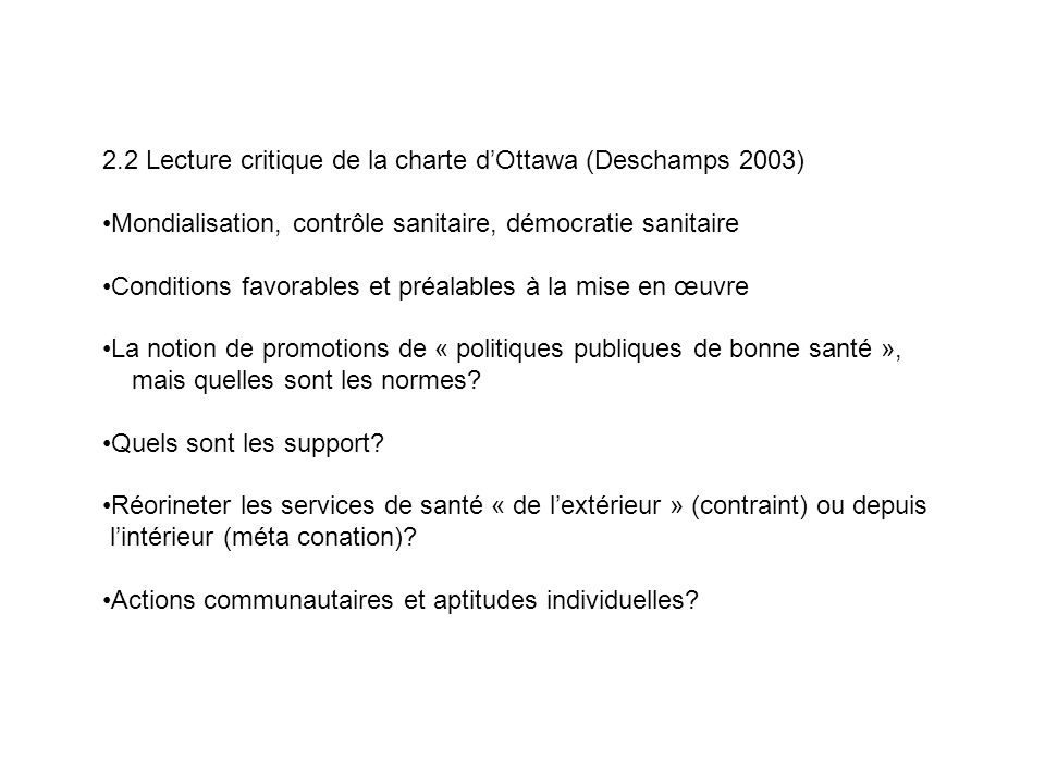 2.2 Lecture critique de la charte d'Ottawa (Deschamps 2003)