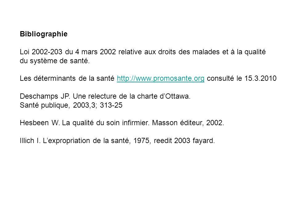 Bibliographie Loi 2002-203 du 4 mars 2002 relative aux droits des malades et à la qualité. du système de santé.