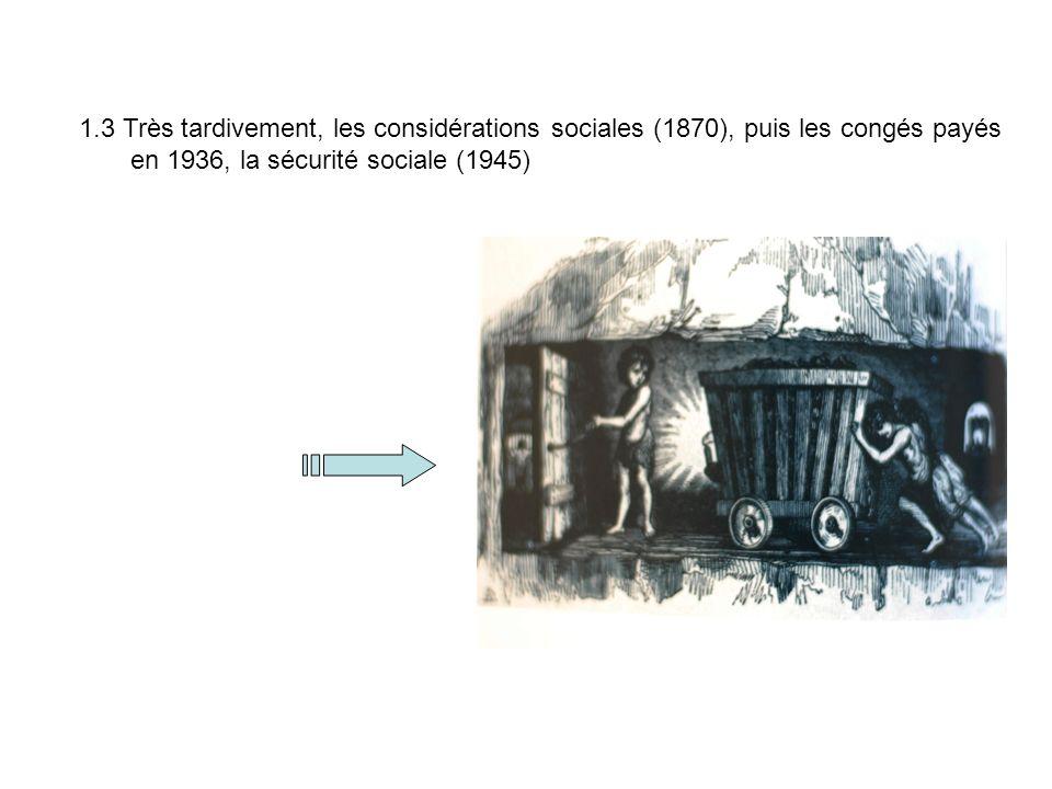 1.3 Très tardivement, les considérations sociales (1870), puis les congés payés