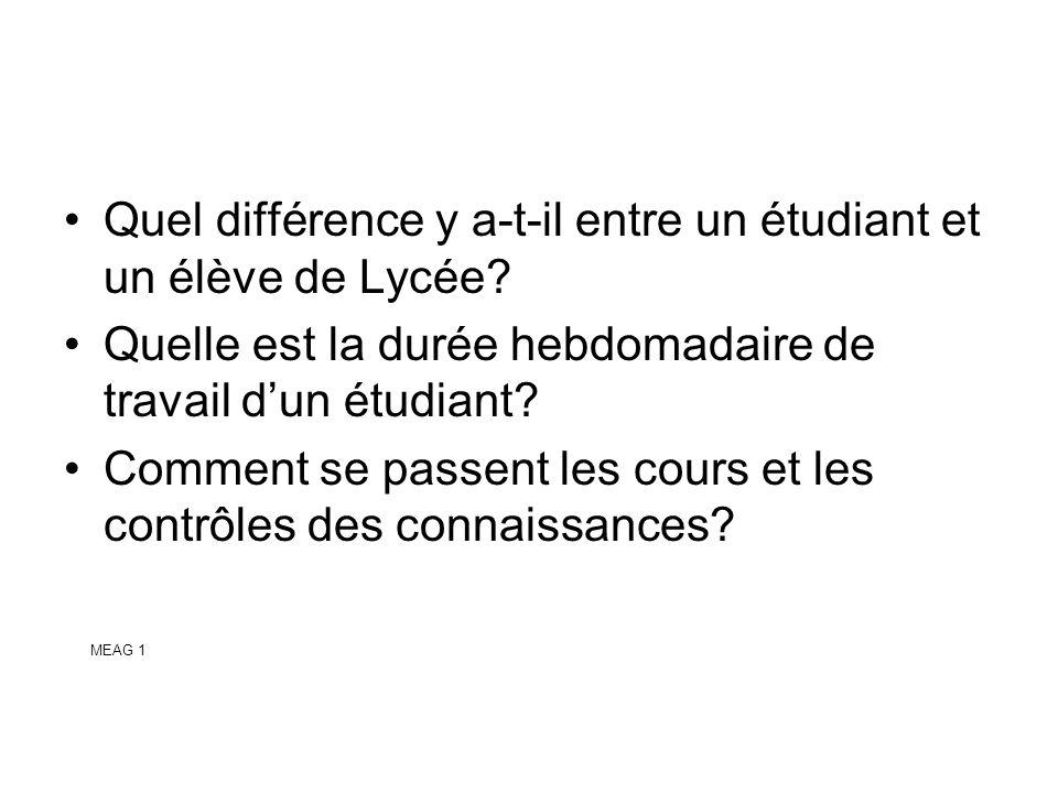 Quel différence y a-t-il entre un étudiant et un élève de Lycée