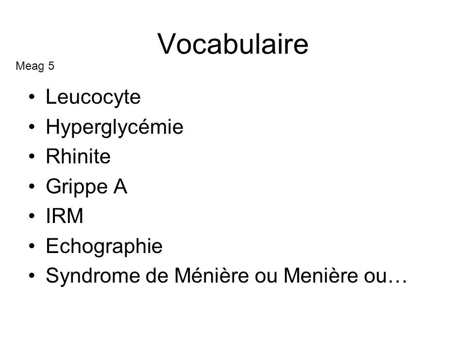 Vocabulaire Leucocyte Hyperglycémie Rhinite Grippe A IRM Echographie