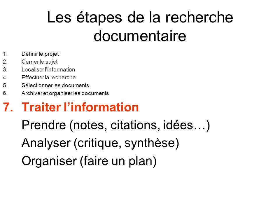 Les étapes de la recherche documentaire