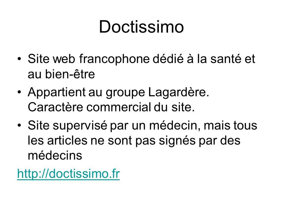 Doctissimo Site web francophone dédié à la santé et au bien-être