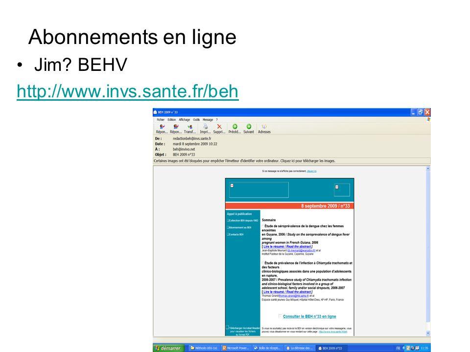 Abonnements en ligne Jim BEHV http://www.invs.sante.fr/beh