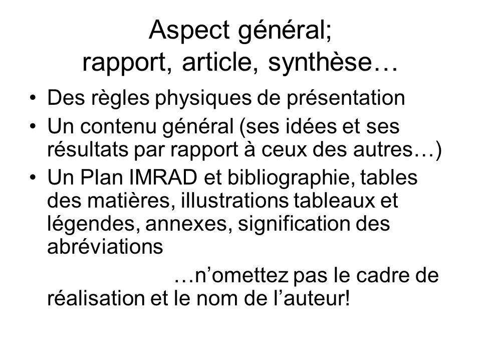 Aspect général; rapport, article, synthèse…
