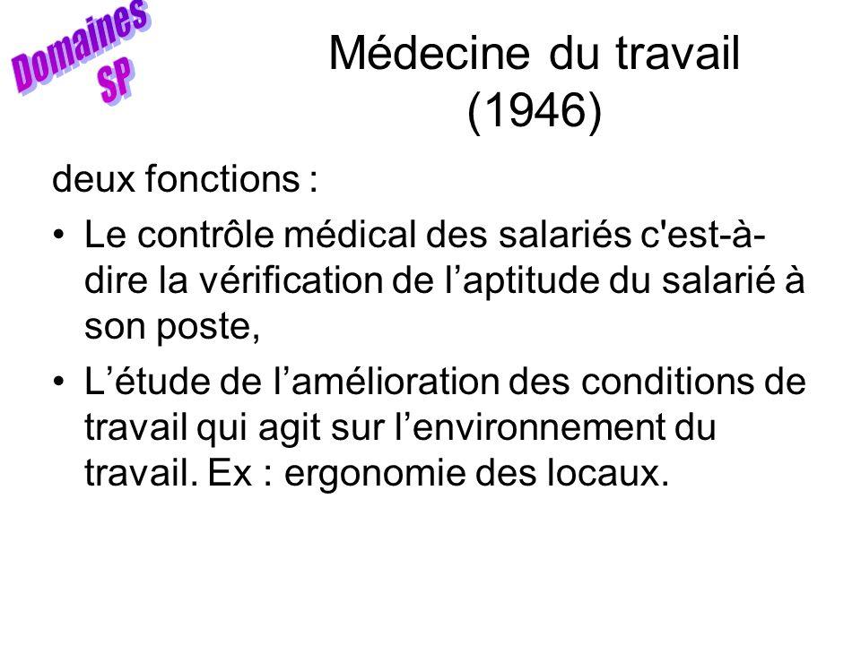 Médecine du travail (1946) Domaines SP deux fonctions :