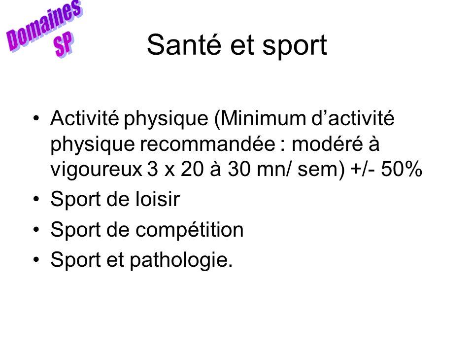 Santé et sport Domaines SP