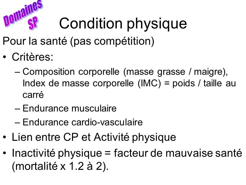 Condition physique Domaines SP Pour la santé (pas compétition)