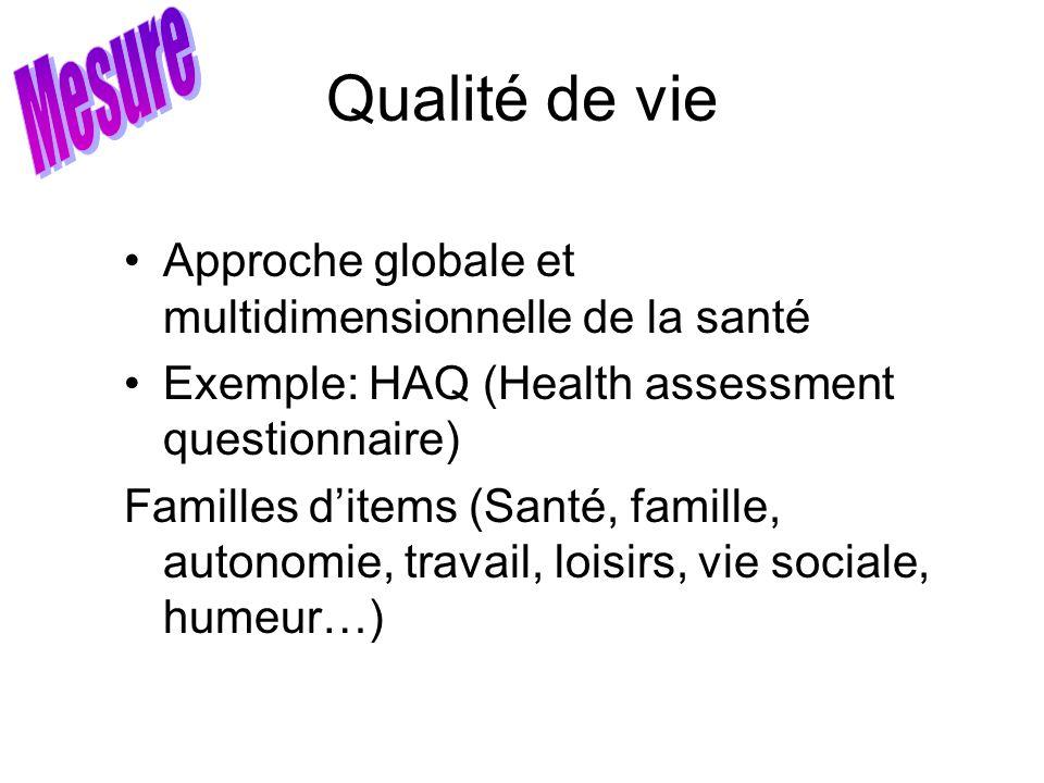 Mesure Qualité de vie. Approche globale et multidimensionnelle de la santé. Exemple: HAQ (Health assessment questionnaire)