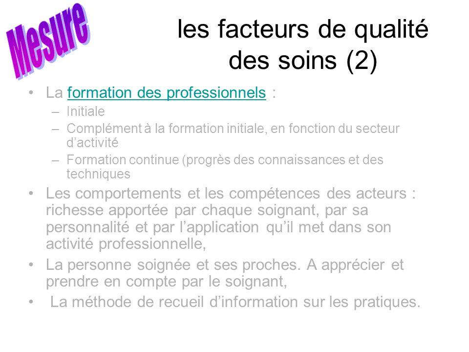les facteurs de qualité des soins (2)