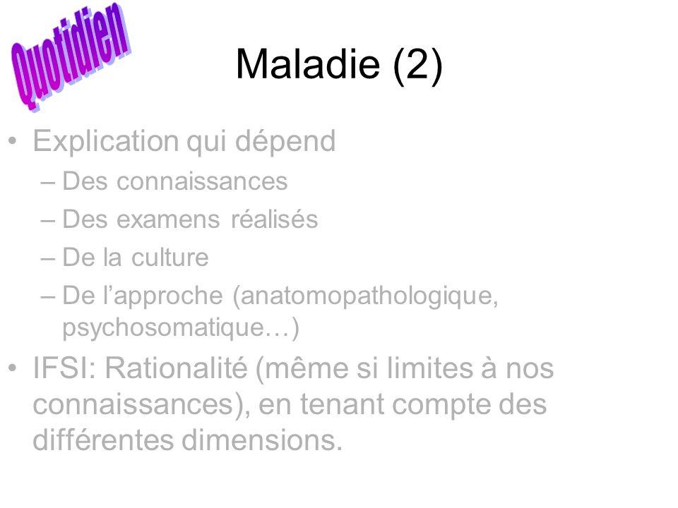 Maladie (2) Quotidien Explication qui dépend