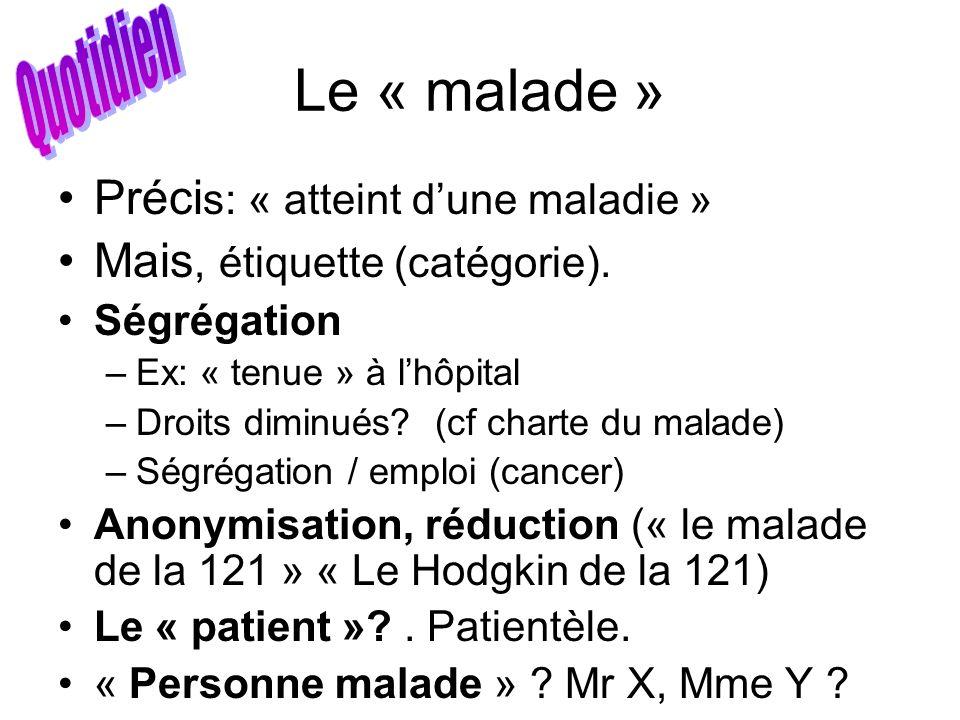 Le « malade » Quotidien Précis: « atteint d'une maladie »