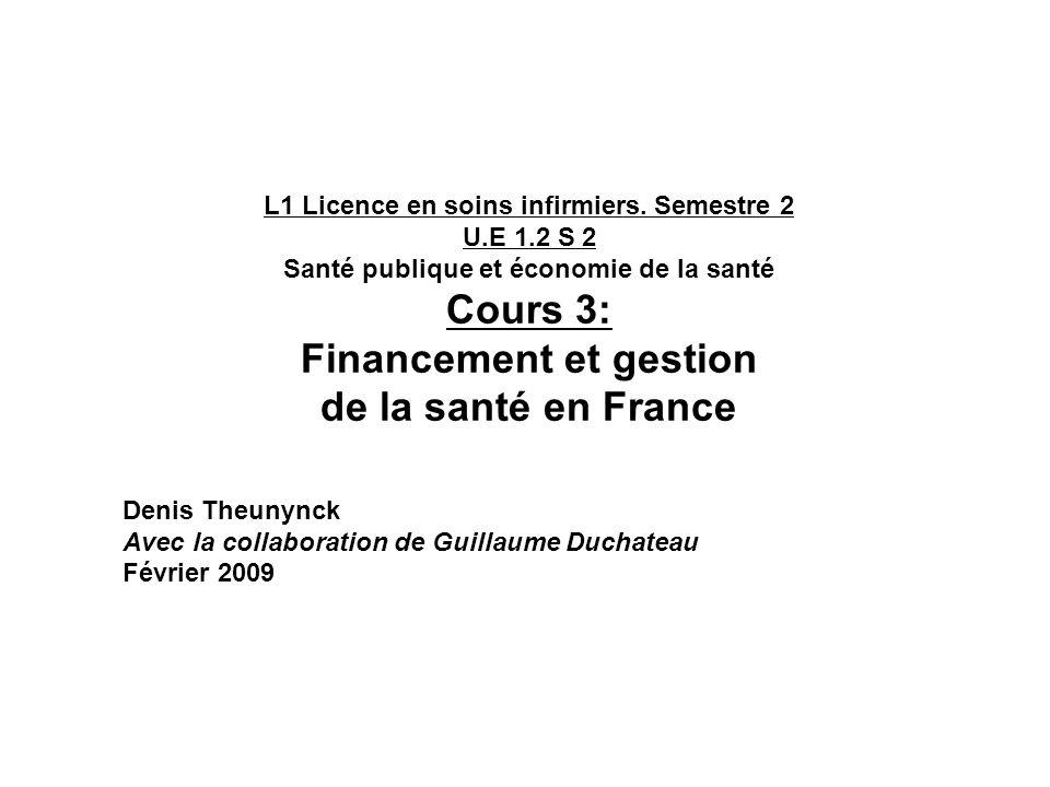 Santé publique et économie de la santé Financement et gestion