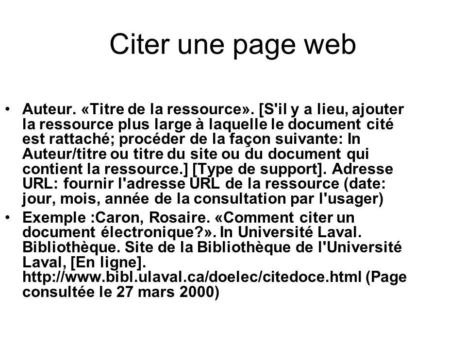 Citer une page web