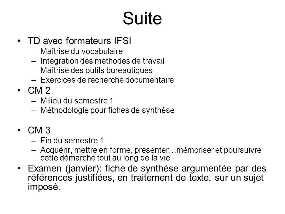 Suite TD avec formateurs IFSI CM 2 CM 3