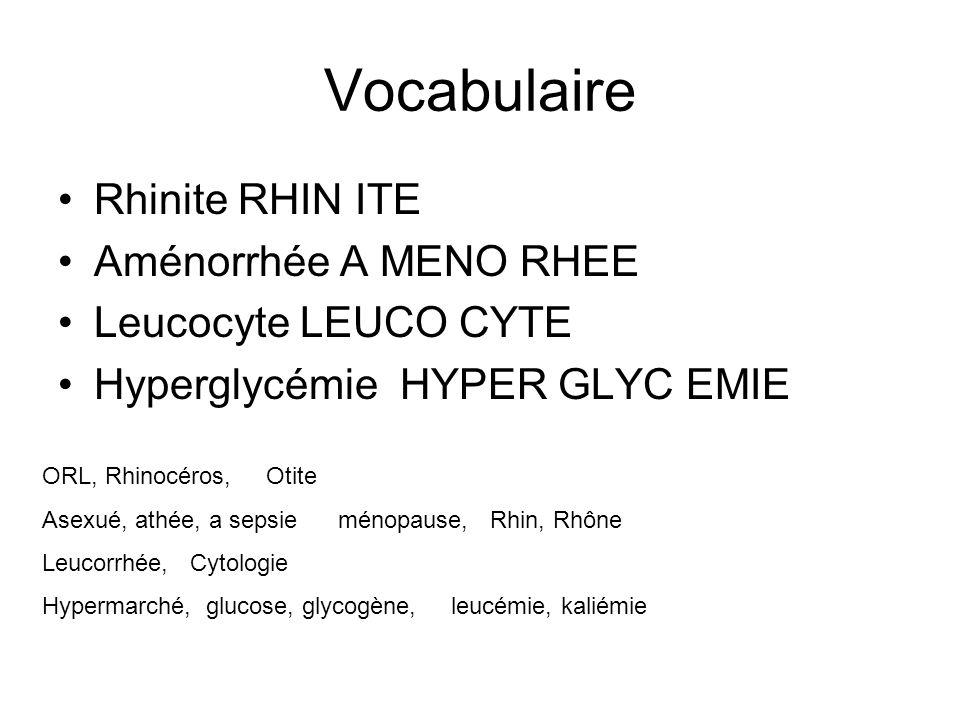 Vocabulaire Rhinite RHIN ITE Aménorrhée A MENO RHEE