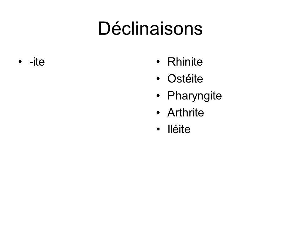 Déclinaisons -ite Rhinite Ostéite Pharyngite Arthrite Iléite