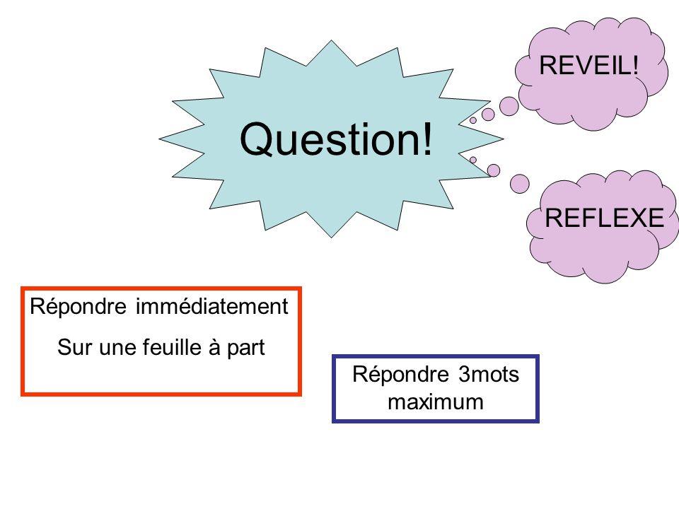 Question! REVEIL! REFLEXE Répondre immédiatement