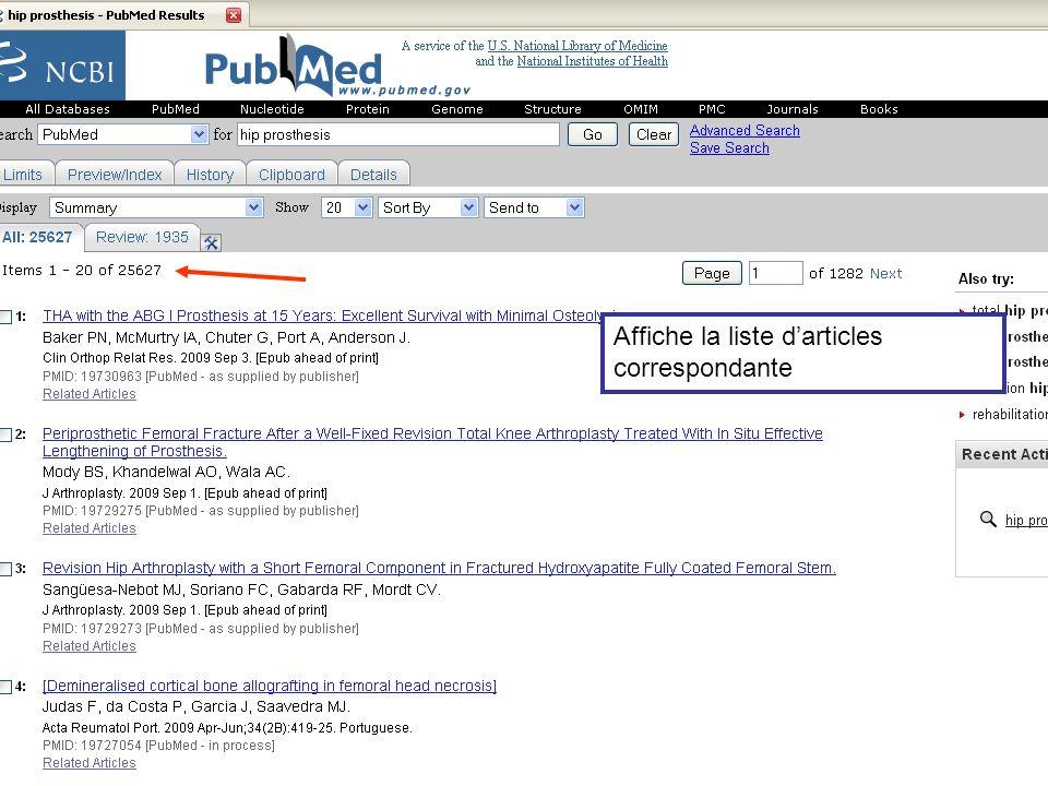 Affiche la liste d'articles correspondante