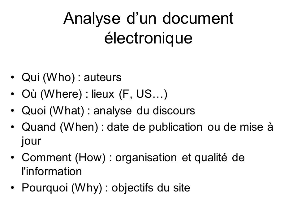 Analyse d'un document électronique