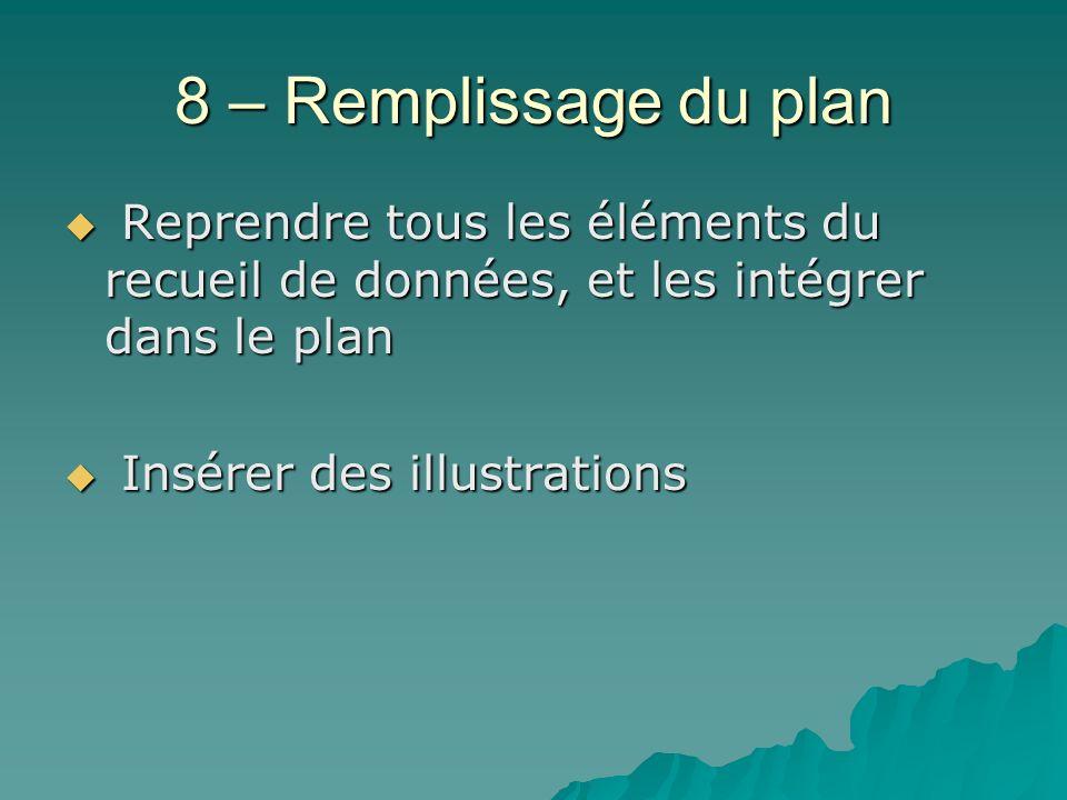 8 – Remplissage du plan Reprendre tous les éléments du recueil de données, et les intégrer dans le plan.