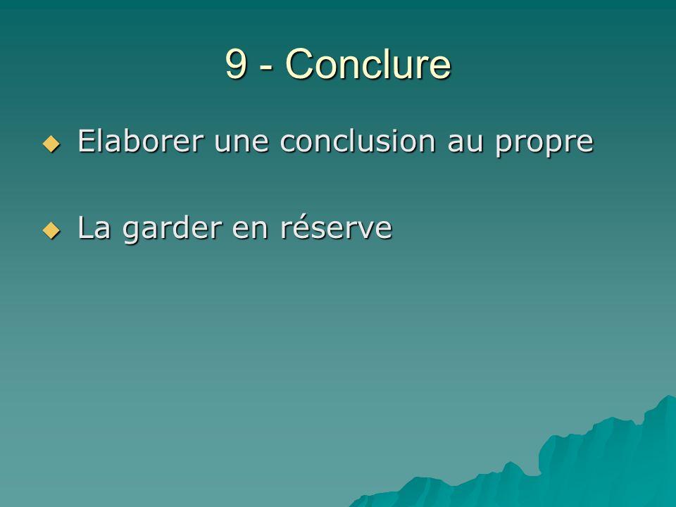 9 - Conclure Elaborer une conclusion au propre La garder en réserve