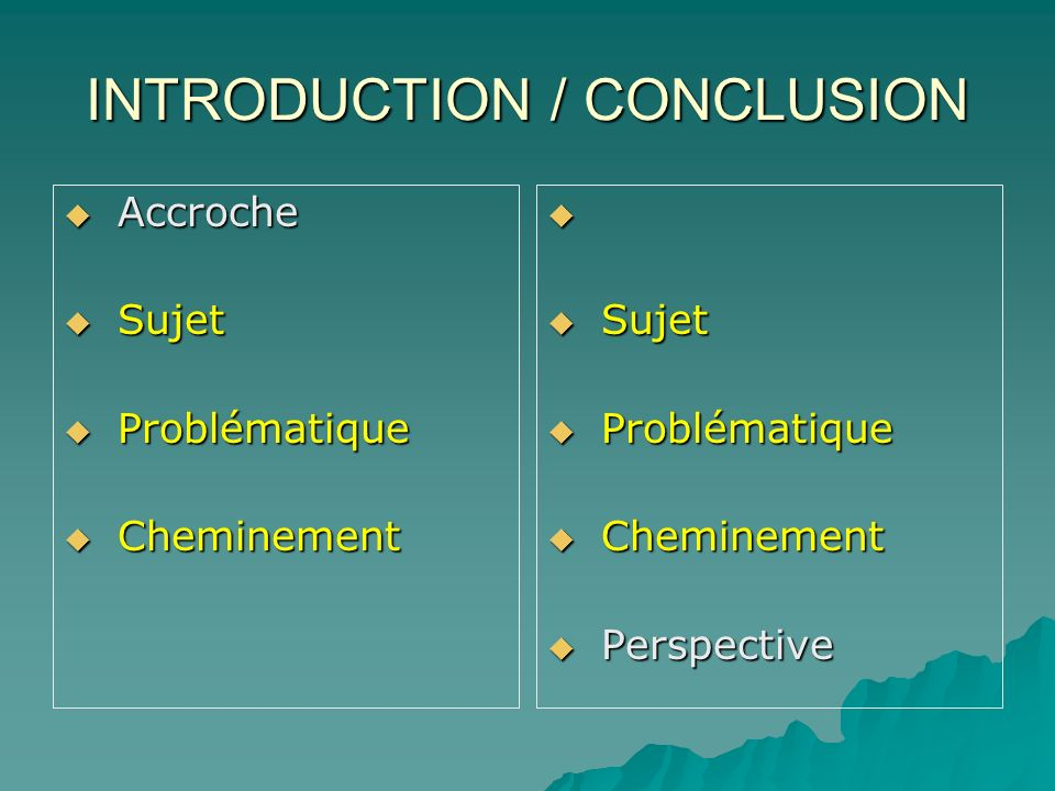 INTRODUCTION / CONCLUSION