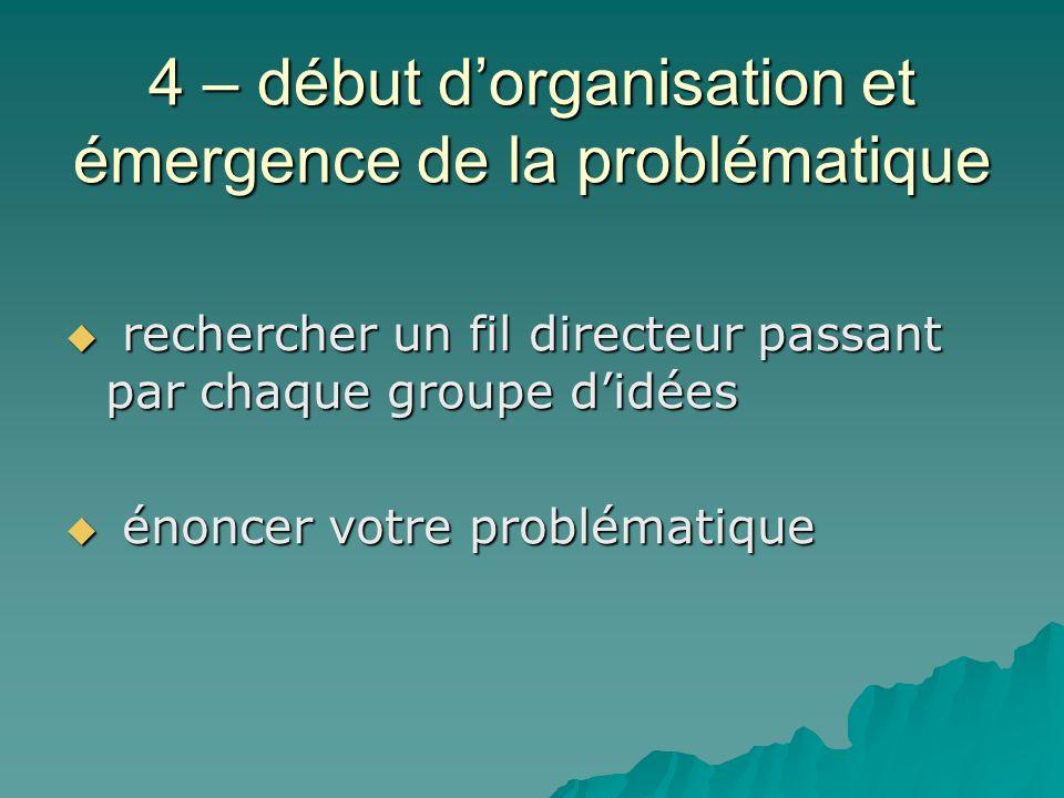 4 – début d'organisation et émergence de la problématique