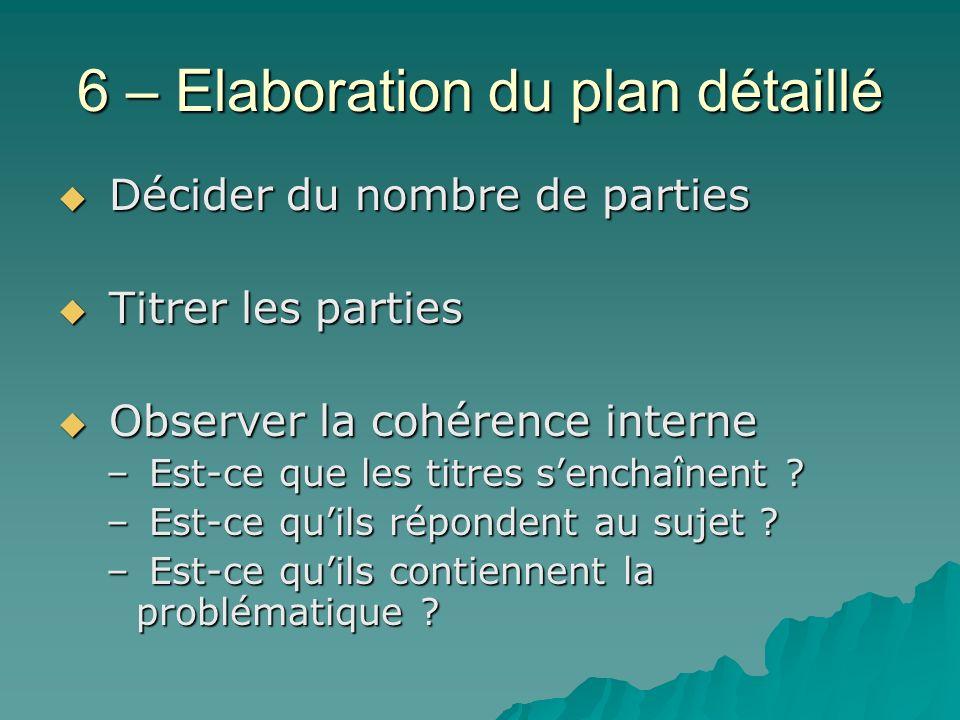 6 – Elaboration du plan détaillé