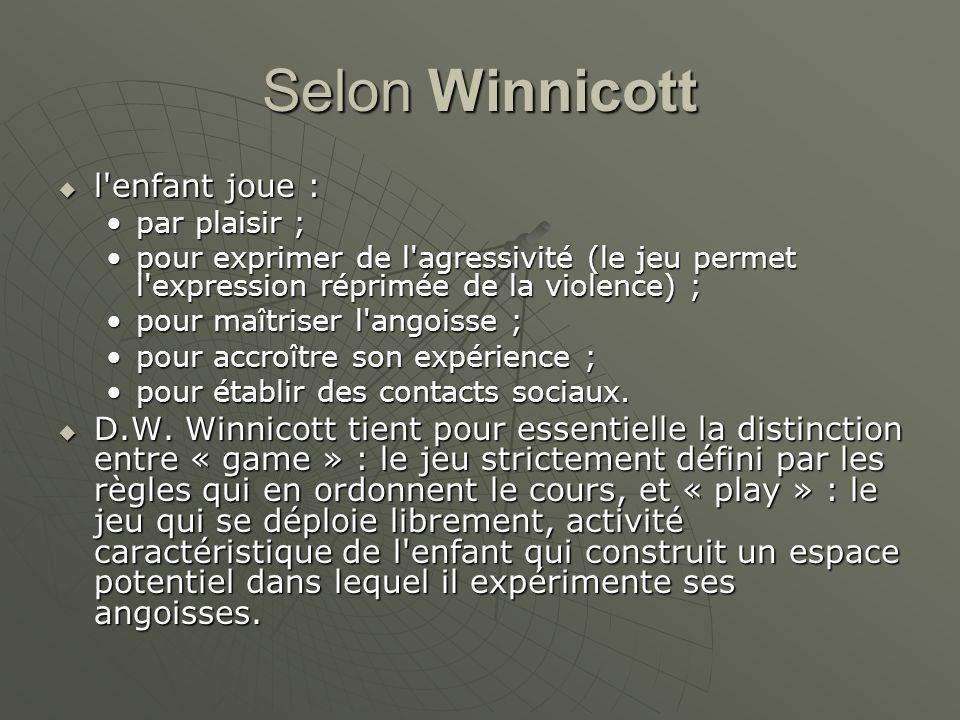 Selon Winnicott l enfant joue :