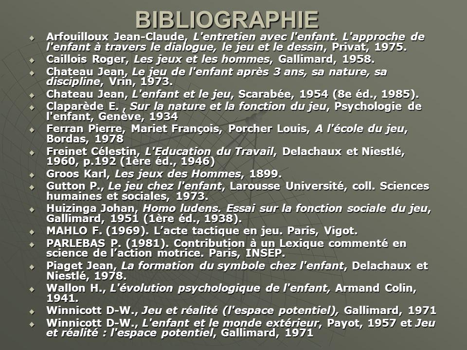 BIBLIOGRAPHIE Arfouilloux Jean-Claude, L entretien avec l enfant. L approche de l enfant à travers le dialogue, le jeu et le dessin, Privat, 1975.