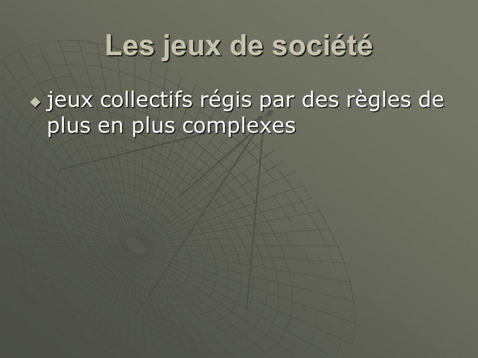 Les jeux de société jeux collectifs régis par des règles de plus en plus complexes
