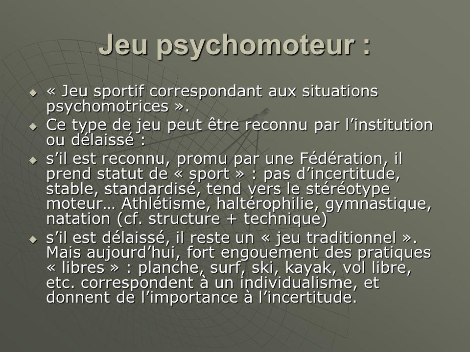 Jeu psychomoteur : « Jeu sportif correspondant aux situations psychomotrices ». Ce type de jeu peut être reconnu par l'institution ou délaissé :